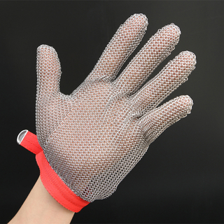 Metal Mesh Gloves for five fingers full hand protection with size XXS, XS, S, M, L, XL